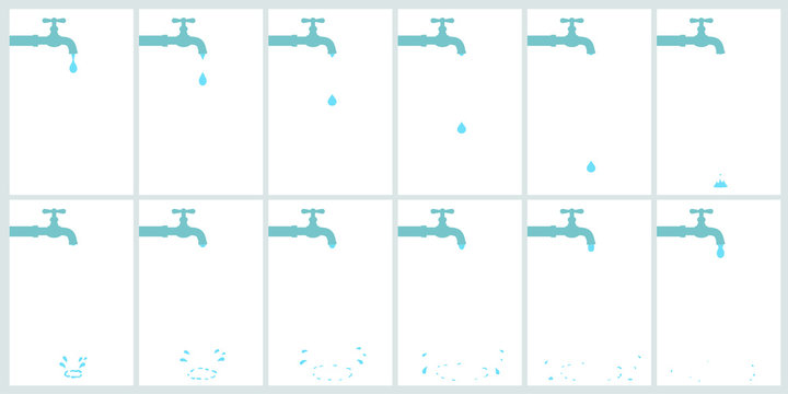 Water tap dripping with water drop and splash. Animation sprite isolated on white background