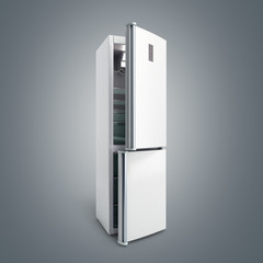 Stainless steel modern open refrigerator on grey gradient 3d illustration