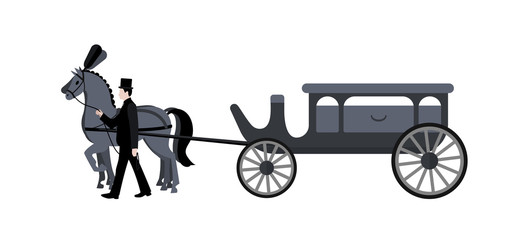 Horse hearse. Funeral.