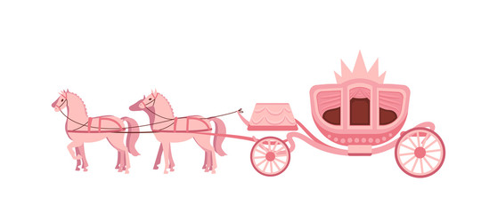 Pink carriage drawn by four horses on white background.