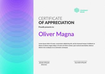 Certificate of Appreciation template. Creative geometric design. Layered eps10 vector.