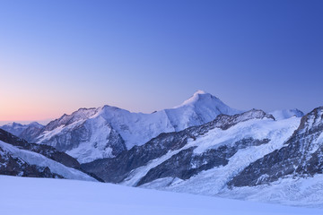 Dawn at Jungfraujoch in Switzerland