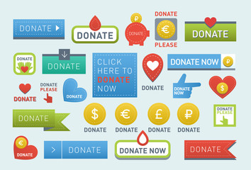 Donate buttons vector set illustration help icon donation gift charity isolated support design sign contribute contribution give money giving symbol