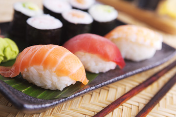 Various Japanese sushi on a plate, shallow depth of field