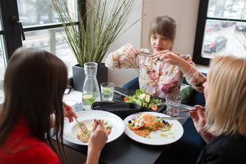 Female friends at dinner