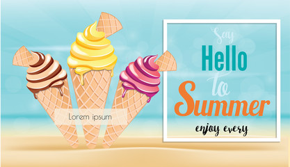 Summer time it's holiday relax and travelling on beach in summer. ice cream fulfill  Vector illustration.
