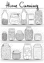 Home canning. Pickled vegetables and jelly in jars. Outline draw
