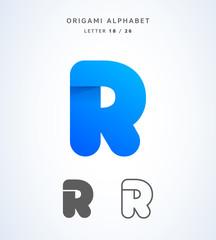Vector origami alphabet. Letter R logo template