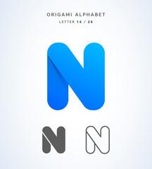 Vector origami alphabet. Letter N logo template