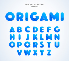 Vector origami alphabet. Letter collection