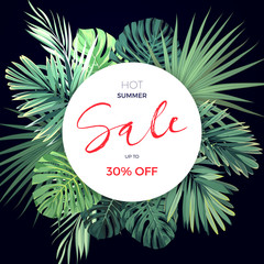Summer hawaiian flyer design with green tropical plants and palm leaves.