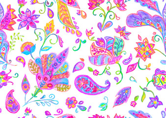 Hand drawn watercolour magenta flower seamless pattern (tiling). Colorful seamless pattern with doodle flowers, paisley and leaves. Isolated objects on a white background. Perfect for cover design.