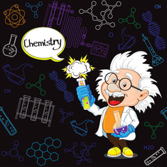 Professor of Chemistry on the black background