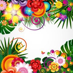 Flowers spring design background, floral pattern.