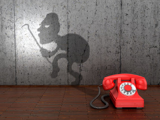 The concept of fraud by phone. 3D illustration.