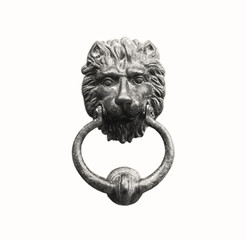 Old style lion's head knocker isolated on white, clipping path, antique effect (sepia).