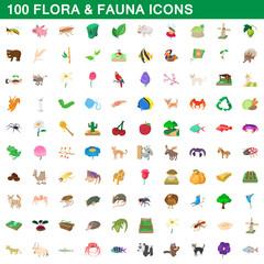 100 flora and fauna icons set, cartoon style
