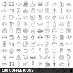 100 coffee icons set, outline style