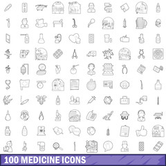 100 medicine icons set, outline style