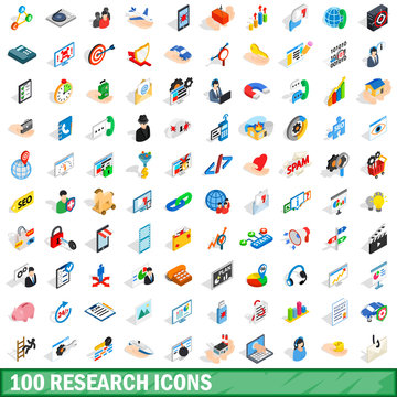 100 research icons set, isometric 3d style