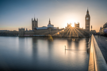 Big Ben and the houses of Parliament in London at dusk Wall mural