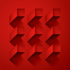 Volume realistic vector abstraction, cubes with shadow, red geometric, design wallpaper