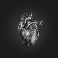 Steampunk machine heart / 3D illustration of dark grungy metal heart
