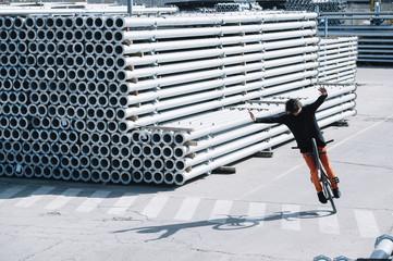 Man performing BMX trick
