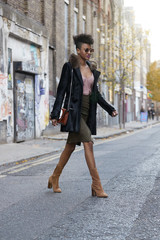 Fashionable woman in coat and skirt crossing street