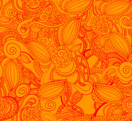 Seamless VECTOR doodle pattern, red on orange.