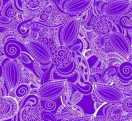 Seamless VECTOR doodle pattern, white on purple.