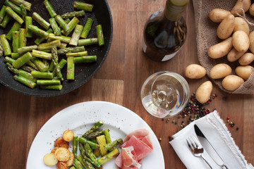Table decoration with fried asparagus
