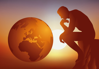 penseur - terre - réflexion - écologie - globe - planète - coucher de soleil