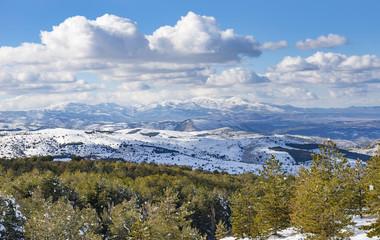 Los Filabres Mountain Range Covered in Snow, near Seron, Almeria Province, Andalusia, Spain