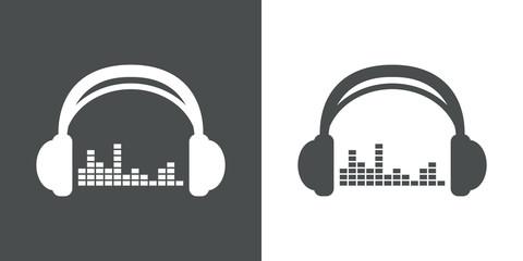 Icono plano auriculares con ecualizador gris y blanco