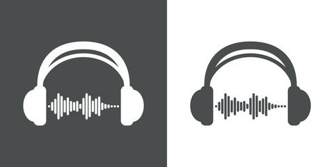 Icono plano auriculares con ondas sonido gris y blanco
