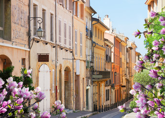 Canvas Prints Historical buildings old town street of Aix en Provence at spring, France