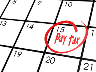 Pay tax word on calendar