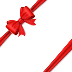 Realistic red bow on white background.