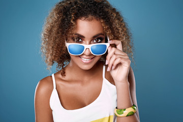 Glamor swag black hipster woman model with curly hair