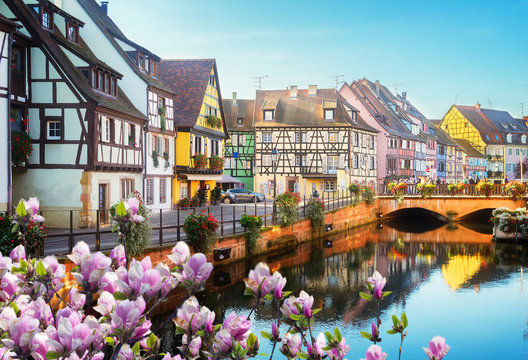 canal of Colmar, most famous town of Alsace at spring day, France