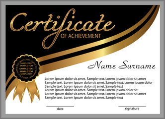 Certificate of achievement, diploma. Reward. Winning the competition. Award winner. Gold and black decorative elements. Vector