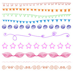 Set of multicolored hand-drawn vintage design elements.