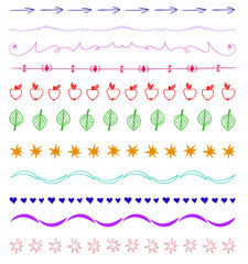 Set of multicolor hand-drawn vintage design elements.