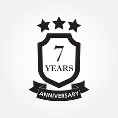 7 years anniversary icon or emblem. 7th anniversary label. Celebration, invitation and congratulation design element.  Vector illustration