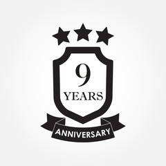 9 years anniversary icon or emblem. 9th anniversary label. Celebration, invitation and congratulation design element. Vector illustration