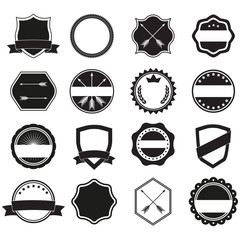 Labels set. Label and badge templates. Collection of retro style banners, shields, emblems, typography, frame, borders, ribbons and stamps. Vector design elements.