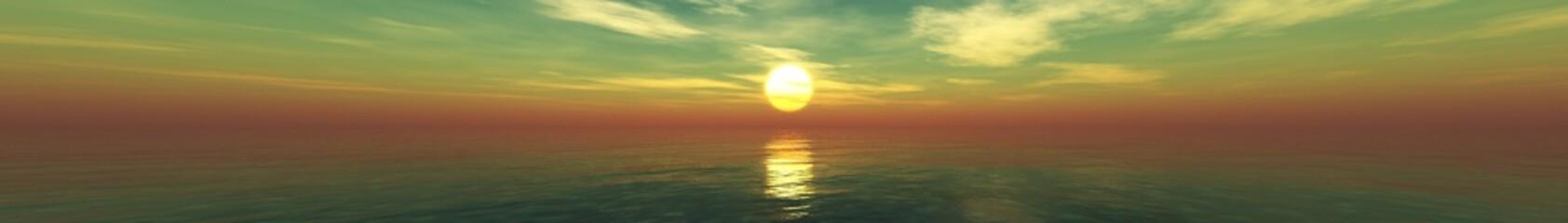 In de dag Olijf Panorama of sea sunset, sunrise. Baner.