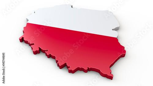 Polen Karte Umriss.3d Umriss Oder Kontur Von Polen Stockfotos Und Lizenzfreie
