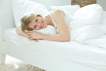 Woman smiles in the morning